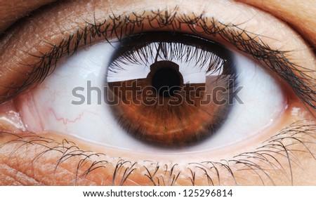 Closeup of human eye, macro mode - stock photo