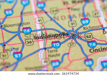 Closeup of Indianapolis on a geographical map. - stock photo