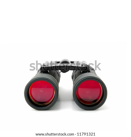 closeup of isolated binoculars with red lenses