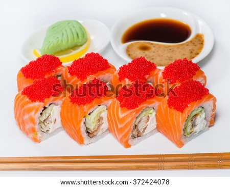closeup of Japanese sushi salmon and flying fish roe (shallow DOF) - stock photo