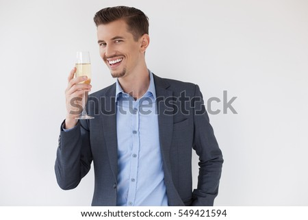 Closeup of Joyful Business Man Celebrating Success