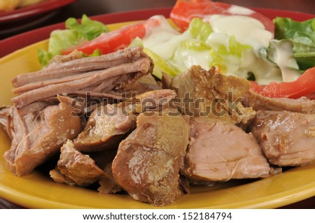 Closeup of juicy pork roast with a green salad, shallow depth of field