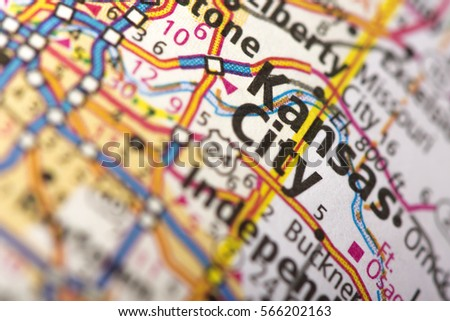 Closeup Of Kansas City Missouri On A Road Map Of The United States