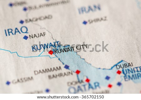 Closeup kuwait city kuwait on political stock photo safe to use closeup of kuwait city kuwait on a political map of middle east gumiabroncs Gallery