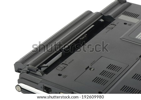 closeup of laptop battery, isolated on white - stock photo