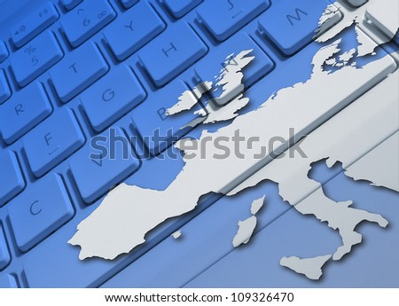 Closeup of laptop keyboard overlaid with Europe map