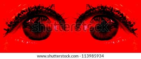 Closeup of Large Eyes - stock photo