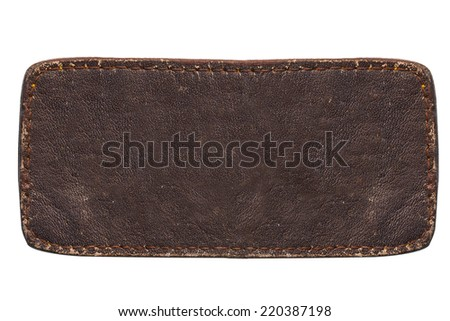 closeup of leather tag texture on white background - stock photo