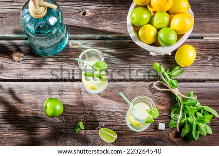 Closeup of lemon drink with ice in glass - stock photo
