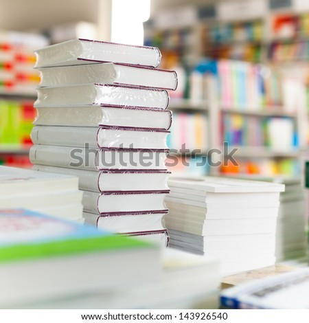 Closeup of library books - stock photo