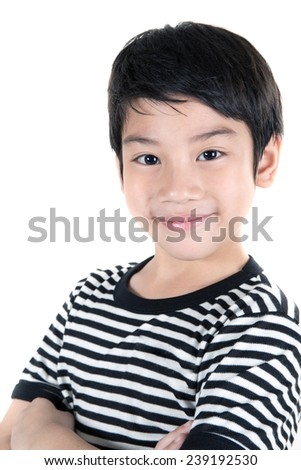Closeup of little asian cute  child  . isolate on white background