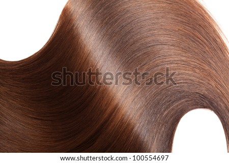Closeup of long smooth hair on white  background