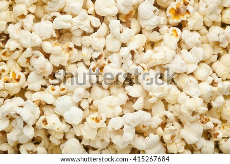 Closeup of lots of plain popcorn