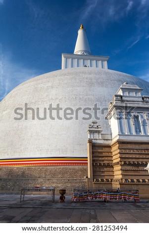 Closeup of Mahatupa or Ruwanweliseya big Dagoba in Anuradhapura, Unesco, Sri Lanka, Asia - stock photo