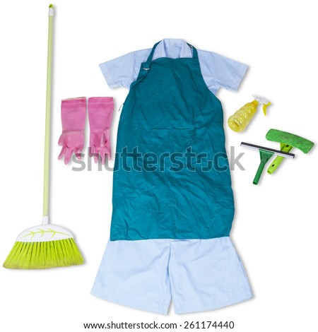 Closeup of maid uniform with spring cleaner tools, isolated on white - stock photo
