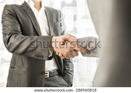 Closeup of male and female business or political partners shaking hands in agreement.