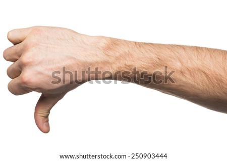 Closeup of male hand gesture dislike with thumb down. Isolated on white background - stock photo