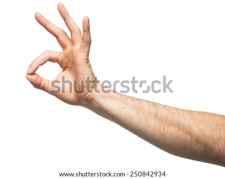 Closeup of male hand gesturing sign ok (okay). Isolated on white background - stock photo