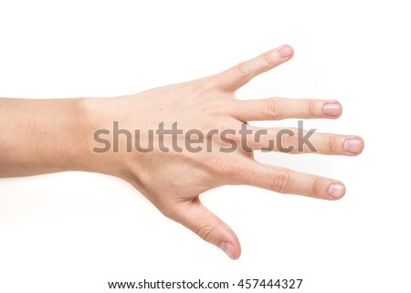 Closeup of male hand palm open   on white background