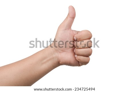 Closeup of male hand showing thumbs up isolate on white clipping path - stock photo