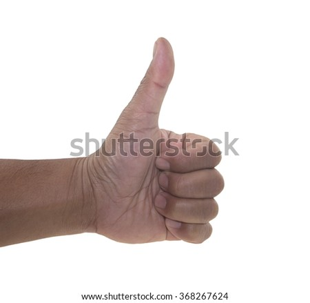 Closeup of male hand showing thumbs up sign against white background