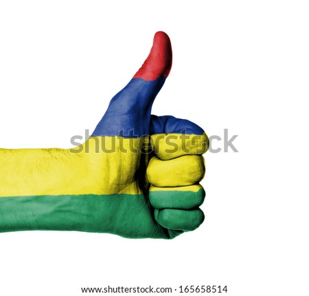 Closeup of male hand showing thumbs up sign, flag of Mauritius - stock photo