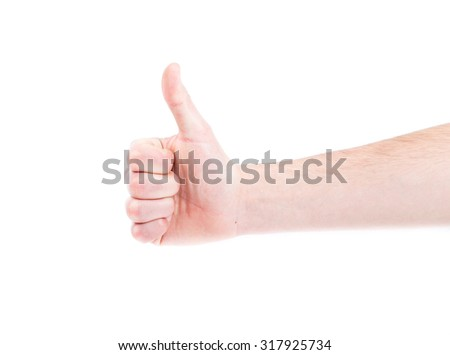Closeup of male hand showing thumbs up sign, isolated.