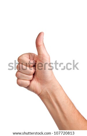 Closeup of male hand showing thumbs up sign isolated against white background
