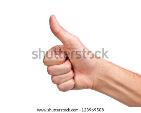 Closeup of male hand showing thumbs up sign isolated against white background - stock photo