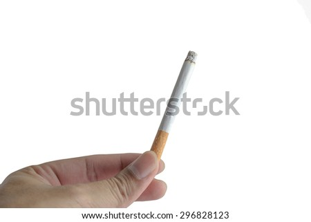 closeup of male hands breaking a cigarette isolated on white background