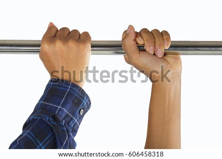 closeup of male hands in horizontal bar