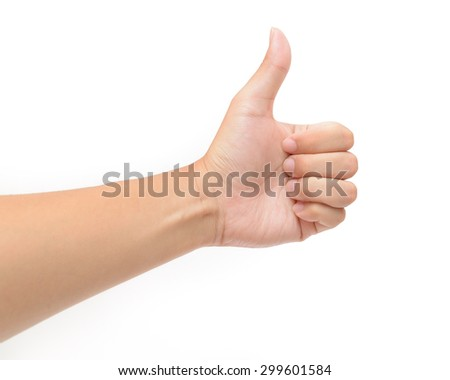 Closeup of male left hand showing thumbs up sign against white background - stock photo