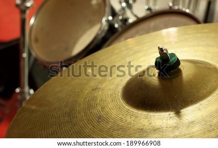 Closeup  of mallets   drum set - stock photo
