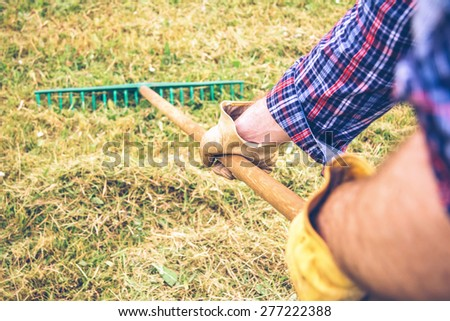 Closeup of man arms raking dry hay with pitchfork on a field - stock photo