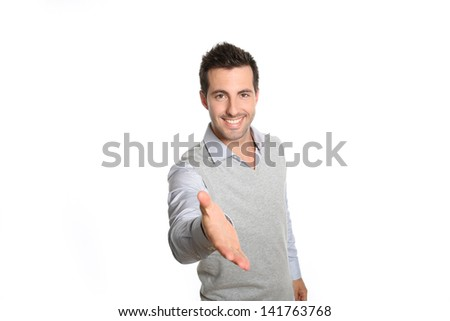 Closeup of man giving hand for handshake - stock photo