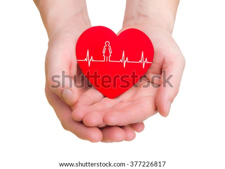 closeup of man hands holding red heart with ecg line isolated