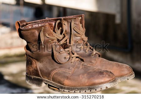 Closeup of man's fashion boots