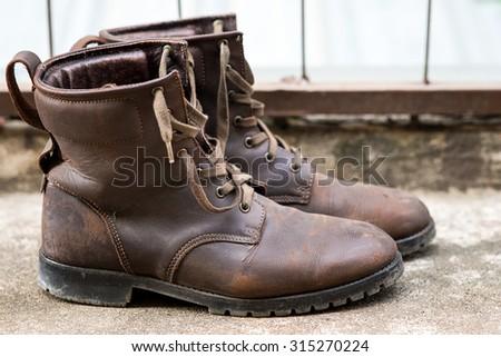 Closeup of man's fashion boots - stock photo
