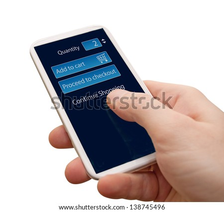 Closeup of Man's Hand Touching Screen of Smartphone With Add To Cart Button on Display - Isolated on White