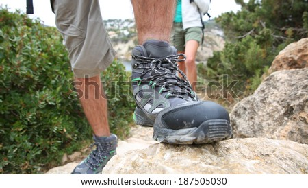 Closeup of man's trekking shoe