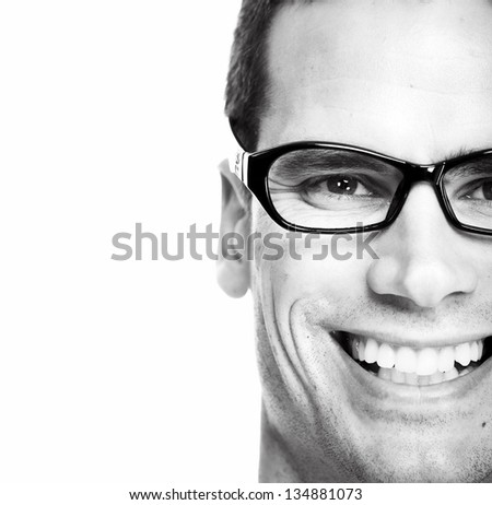 Closeup of Man with eyeglasses. Isolated on white background.