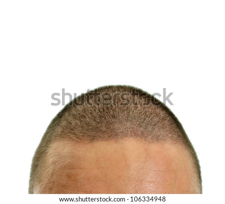 Closeup of mans head. Isolated on white.