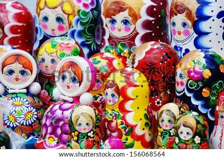 closeup of many traditional Russian matryoshka dolls - stock photo