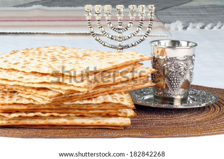 Closeup of Matzah on Plate which is the unleavened bread served at Jewish Passover dinners  - stock photo
