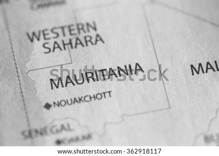 Closeup of Mauritania on a geographical map. (black and white)