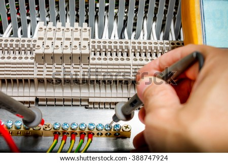 Closeup of measurement connectivity at terminal of Electrical control panel,measure resistance, voltage ,current ,control box - stock photo
