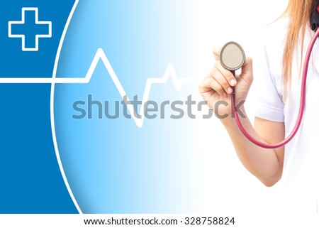 Closeup of medical doctor holding stethoscope. Blue background - stock photo