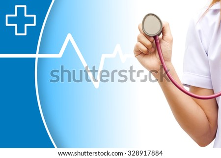 Closeup of medical doctor holding stethoscope. Blue background