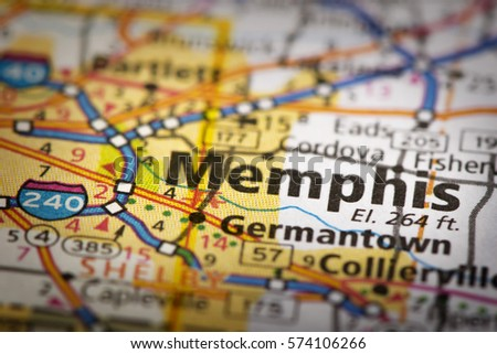 closeup of memphis tennessee on a road map of the united states