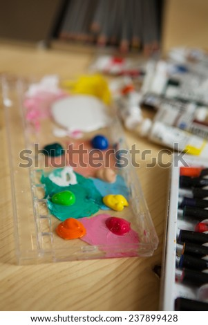 Closeup of messy, used water-color paint box. background - stock photo